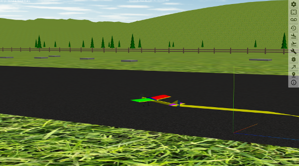 WebGL RC Flight simulator view of landing strip with Flying Stick model selected